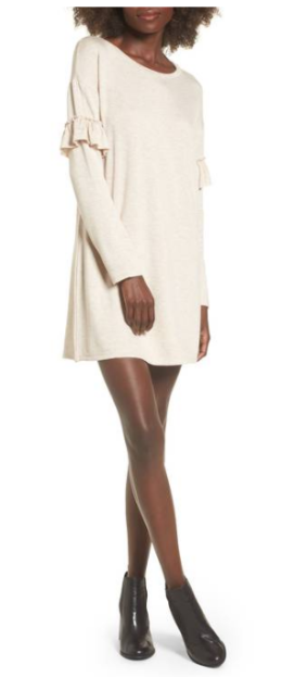 Socialite Ruffle Sleeve Sweater Dress