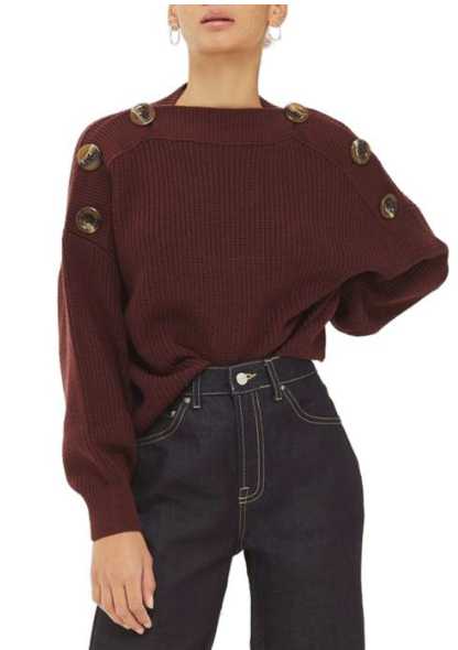 topshop button sweater