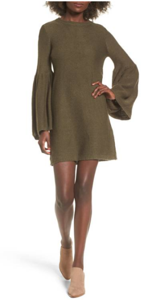 Cotton Emporium Bell Sleeve Sweater Dress