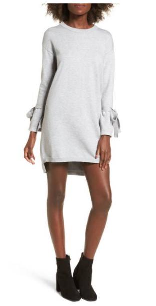 Cotton Emporium Tie Sleeve Sweater Dress