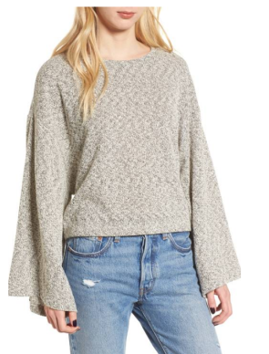 Marled Bell Sleeve Sweater