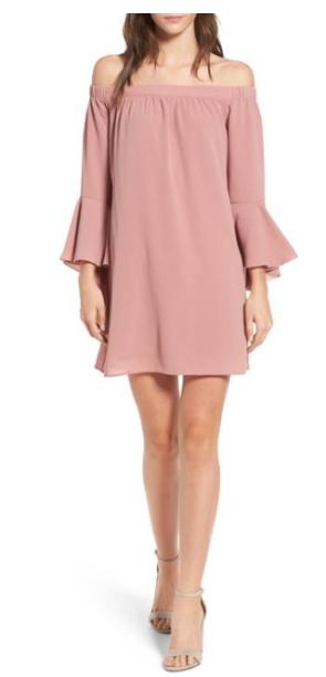 Speechless bell sleeve off the shoulder dress