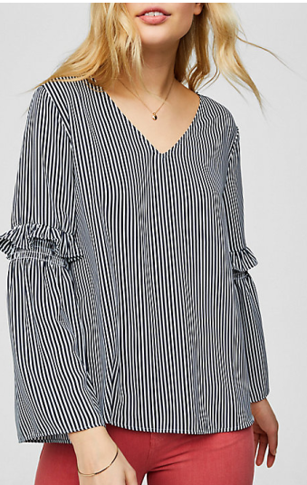 Striped ruffle bell sleeve blouse